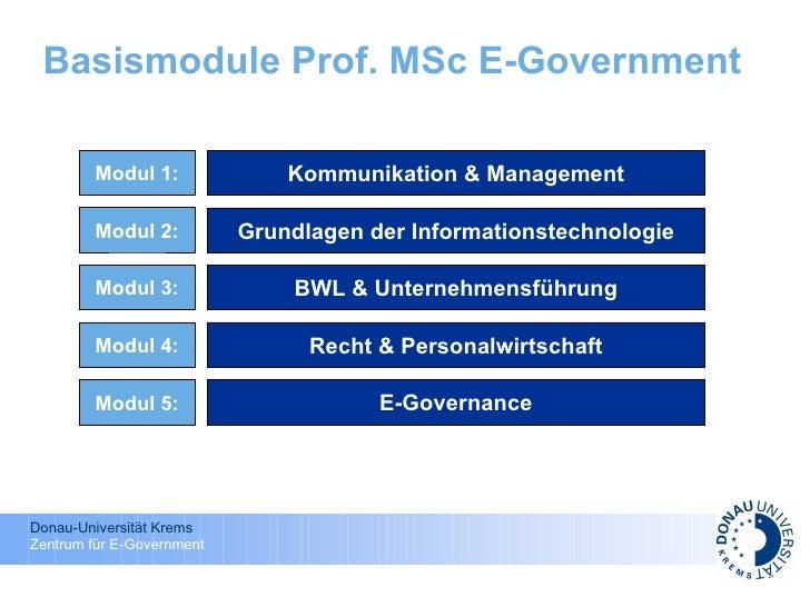 Basismodule Prof. MSc E-Government Kommunikation & Management Grundlagen der Informationstechnologie BWL & Unternehmensfüh...