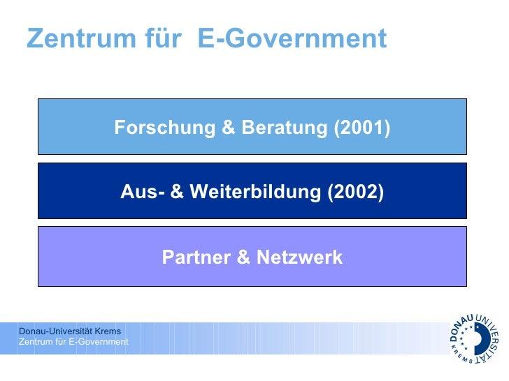 Zentrum für  E-Government Forschung & Beratung (2001) Aus- & Weiterbildung (2002) Partner & Netzwerk