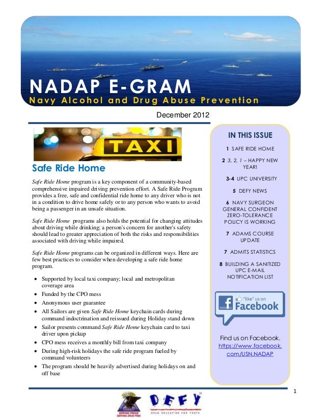 NADAP E-GRAMNavy Alcohol and Drug Abuse Prevention                                                      December 2012     ...