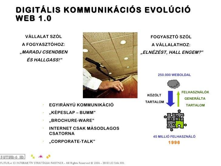 """DIGITÁLIS KOMMUNIKÁCIÓS EVOLÚCIÓ WEB 1.0 VÁLLALAT SZÓL  A FOGYASZTÓHOZ:  """" MARADJ CSENDBEN  ÉS HALLGASS!"""" FOGYASZTÓ SZÓL  ..."""