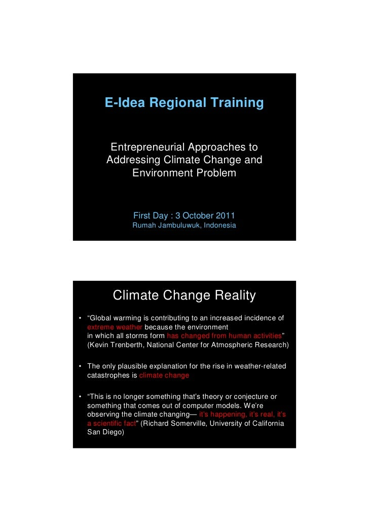 E-Idea Regional Training         Entrepreneurial Approaches to        Addressing Climate Change and             Environmen...