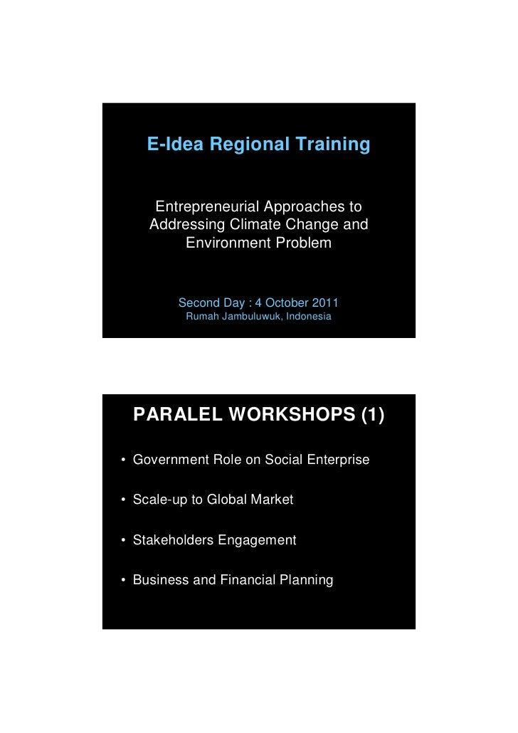 E-Idea Regional Training     Entrepreneurial Approaches to    Addressing Climate Change and         Environment Problem   ...