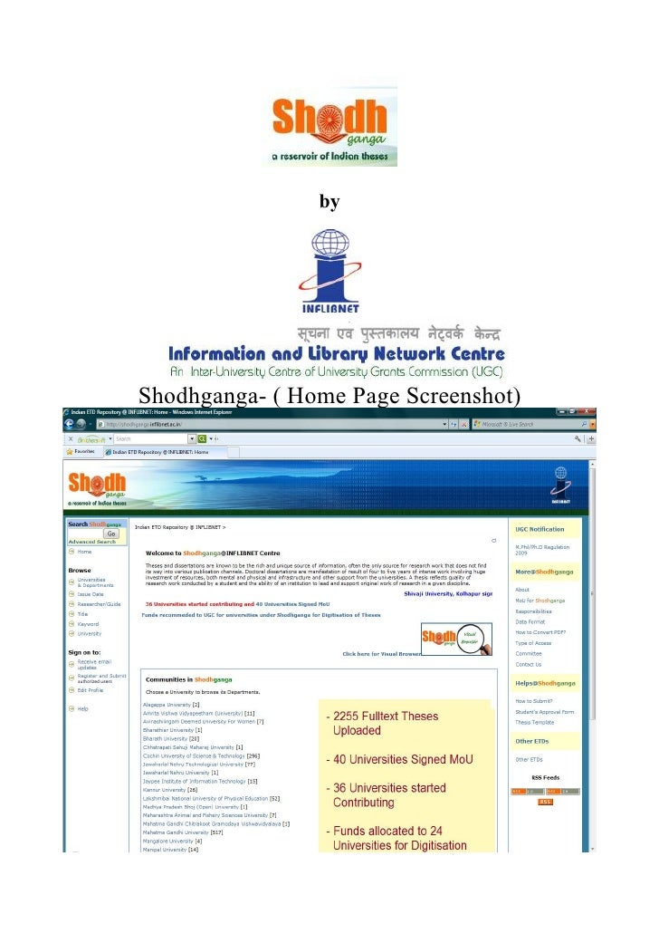 byShodhganga- ( Home Page Screenshot)