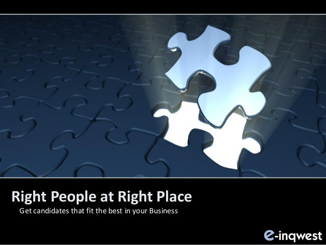 Right People at Right Place Get candidates that fit the best in your Business -inqweste