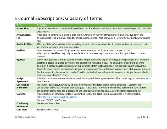 G. Chilton and C. Zhao University of Connecticut July 7, 2015 E-Journal Subscriptions: Glossary of Terms Term Definition A...