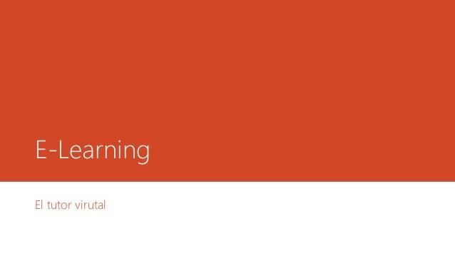 E-Learning  El tutor virutal