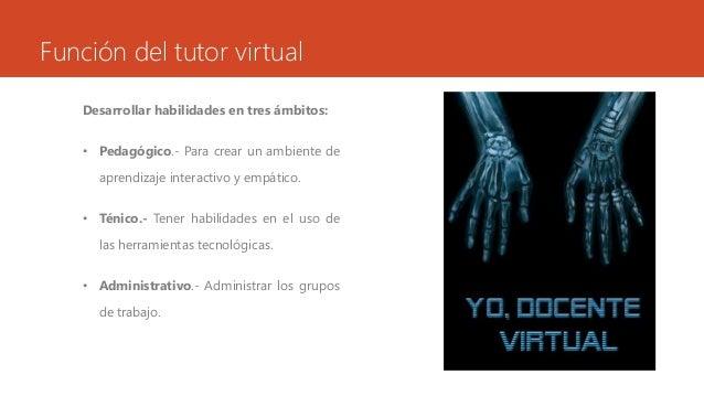 Función del tutor virtual  Desarrollar habilidades en tres ámbitos:  • Pedagógico.- Para crear un ambiente de  aprendizaje...