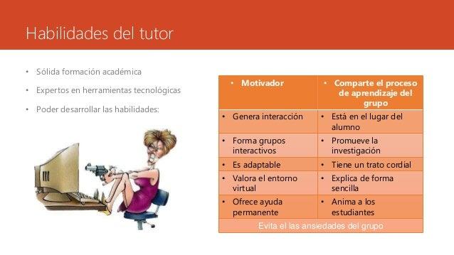 Habilidades del tutor  • Sólida formación académica  • Expertos en herramientas tecnológicas  • Poder desarrollar las habi...