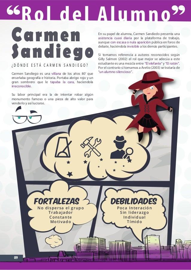 Rol del Alumno 09 Carmen Sandiego¿ D Ó N D E E S T Á C A R M E N S A N D I E G O ? Carmen Sandiego es una villana de los a...
