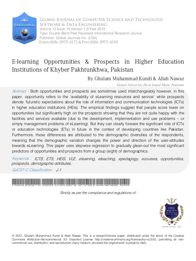 © 2012. Ghulam Muhammad Kundi & Allah Nawaz. This is a research/review paper, distributed under the terms of the Creative ...