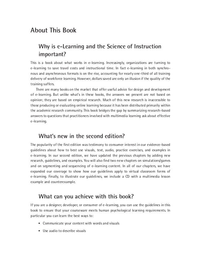 e learning and the science of instruction