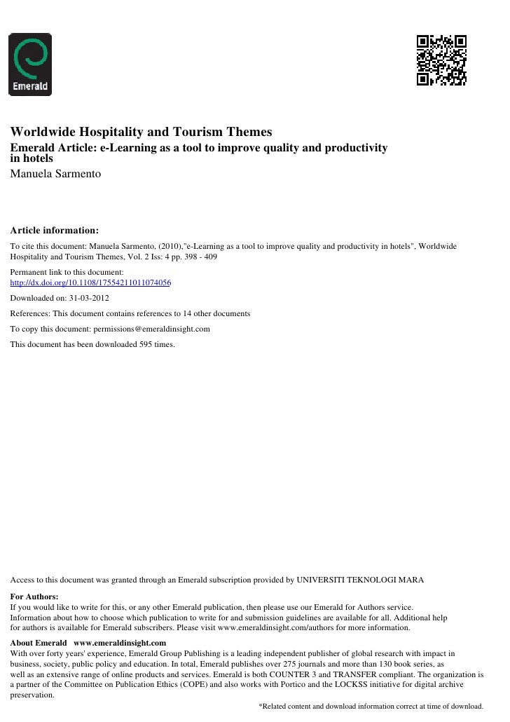 Worldwide Hospitality and Tourism ThemesEmerald Article: e-Learning as a tool to improve quality and productivityin hotels...