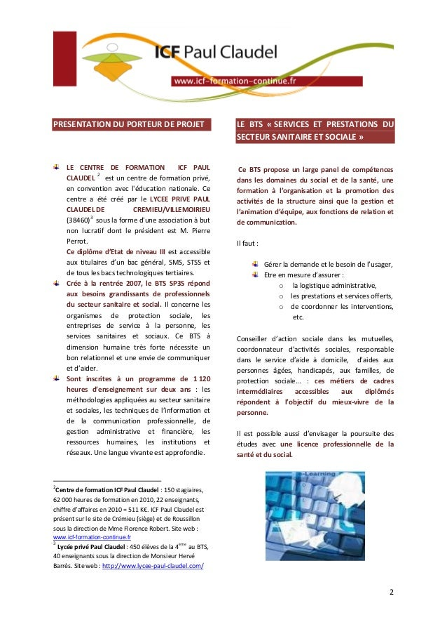 PRESENTATION DU PORTEUR DE PROJET                           LE BTS « SERVICES ET PRESTATIONS DU                           ...