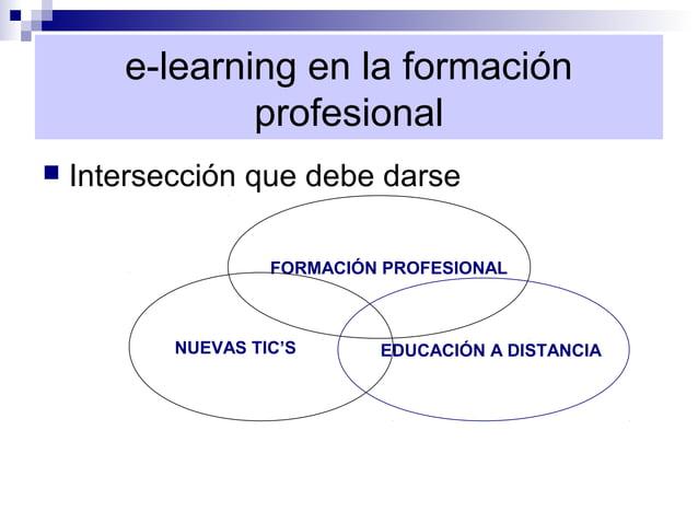 e-learning en la formación               profesional   Intersección que debe darse                    FORMACIÓN PROFESION...