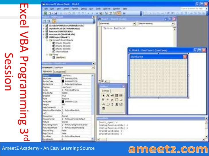 Excel VBA Programming 3rd         SessionAmeetZ Academy - An Easy Learning Source