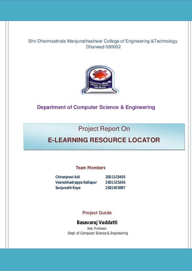 E-Learning Resource Locator Tech Blazers Page 1 Department of Computer Science & Engineering Project Report On E-LEARNING ...