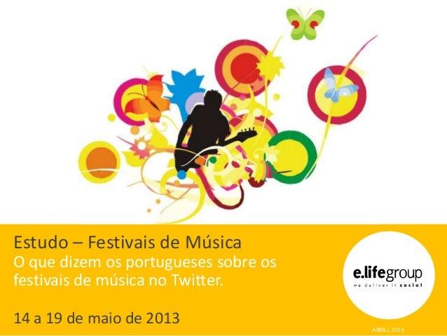Estudo – Festivais de MúsicaO que dizem os portugueses sobre osfestivais de música no Twitter.14 a 19 de maio de 2013ABRIL...