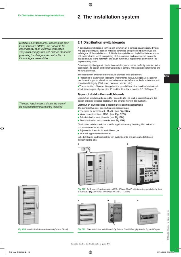 E - Distribution in low-voltage installations  2 The installation system  Distribution switchboards, including the main LV...