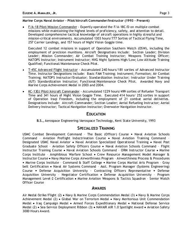 3 - Navy Aerospace Engineer Sample Resume