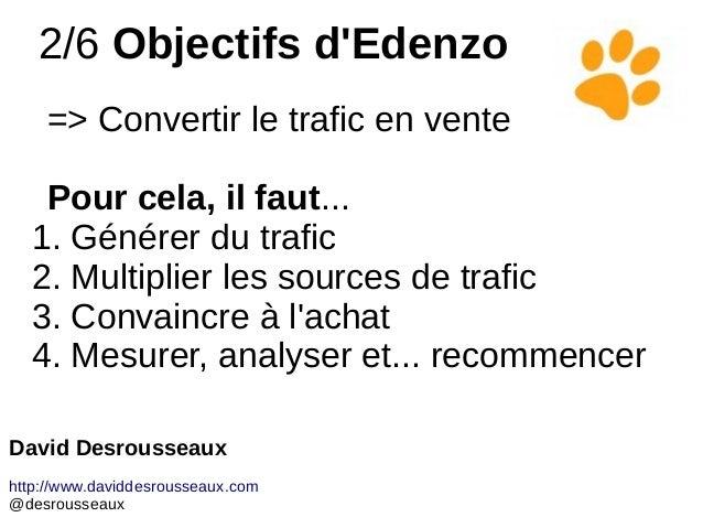 2/6 Objectifs d'Edenzo => Convertir le trafic en vente Pour cela, il faut... 1. Générer du trafic 2. Multiplier les source...