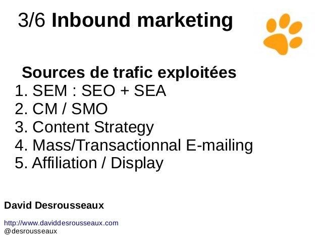 3/6 Inbound marketing Sources de trafic exploitées 1. SEM : SEO + SEA 2. CM / SMO 3. Content Strategy 4. Mass/Transactionn...