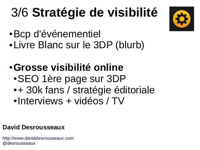 3/6 Stratégie de visibilité ● Bcp d'événementiel ● Livre Blanc sur le 3DP (blurb) ● Grosse visibilité online ● SEO 1ère pa...