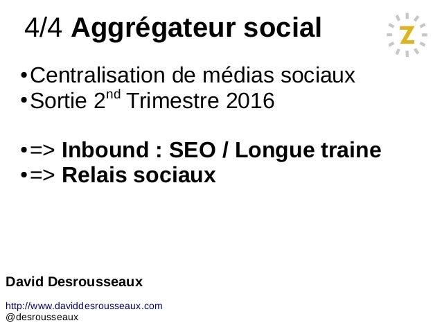 4/4 Aggrégateur social ● Centralisation de médias sociaux ● Sortie 2nd Trimestre 2016 ● => Inbound : SEO / Longue traine ●...