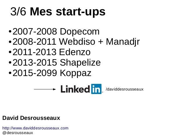 3/6 Mes start-ups ● 2007-2008 Dopecom ● 2008-2011 Webdiso + Manadjr ● 2011-2013 Edenzo ● 2013-2015 Shapelize ● 2015-2099 K...