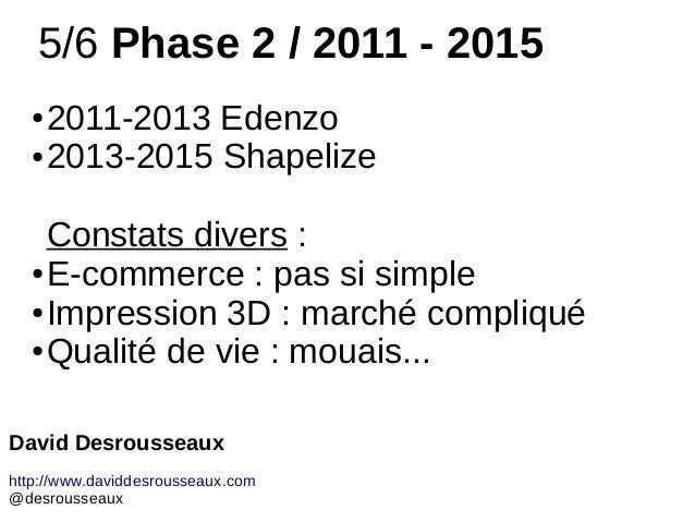5/6 Phase 2 / 2011 - 2015 ● 2011-2013 Edenzo ● 2013-2015 Shapelize Constats divers : ● E-commerce : pas si simple ● Impres...