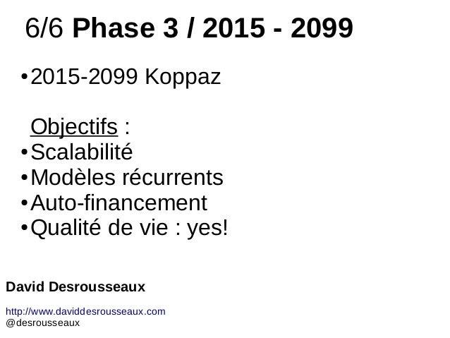6/6 Phase 3 / 2015 - 2099 ● 2015-2099 Koppaz Objectifs : ● Scalabilité ● Modèles récurrents ● Auto-financement ● Qualité d...