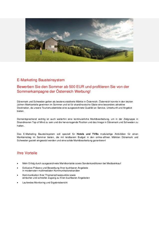 E-Marketing Bausteinsystem Bewerben Sie den Sommer ab 500 EUR und profitieren Sie von der Sommerkampagne der Österreich We...