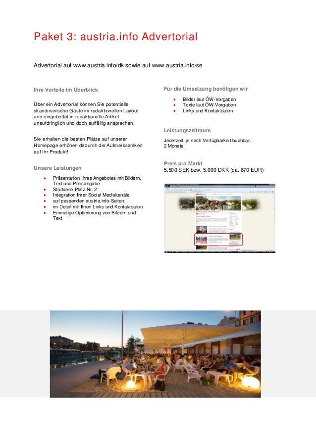 Paket 3: austria.info Advertorial Advertorial auf www.austria.info/dk sowie auf www.austria.info/se Ihre Vorteile im Überb...