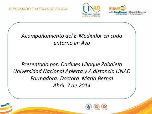 DIPLOMADO E-MEDIADOR EN AVA Acompañamiento del E-Mediador en cada entorno en Ava Presentado por: Darlines Ulloque Zabaleta...