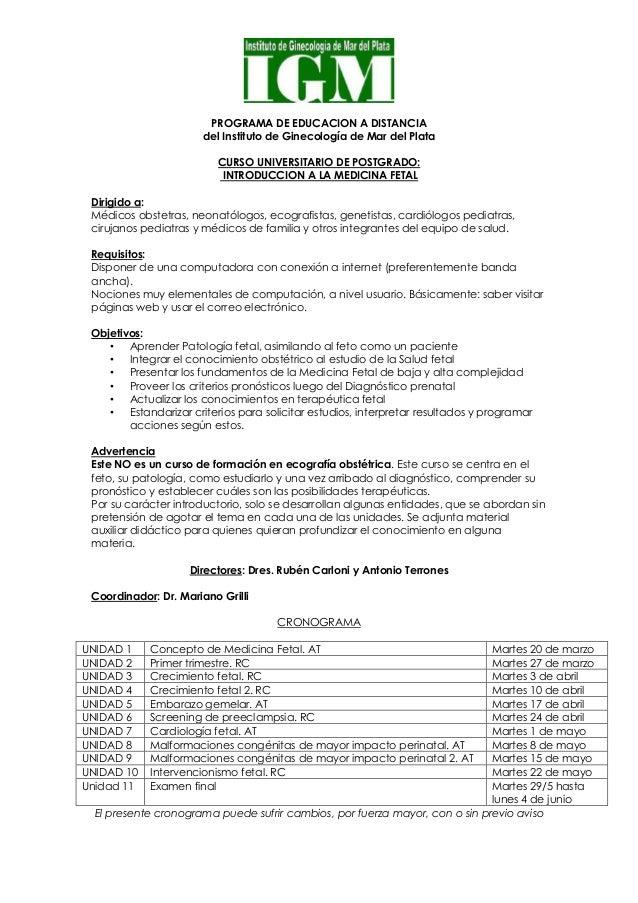 PROGRAMA DE EDUCACION A DISTANCIA del Instituto de Ginecología de Mar del Plata CURSO UNIVERSITARIO DE POSTGRADO: INTRODUC...
