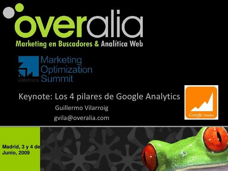 Keynote: Los 4 pilares de Google Analytics                    Guillermo Vilarroig                    gvila@overalia.com   ...