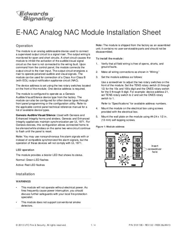edwards signaling e nac installation manual 2013 utc fire security all rights reserved