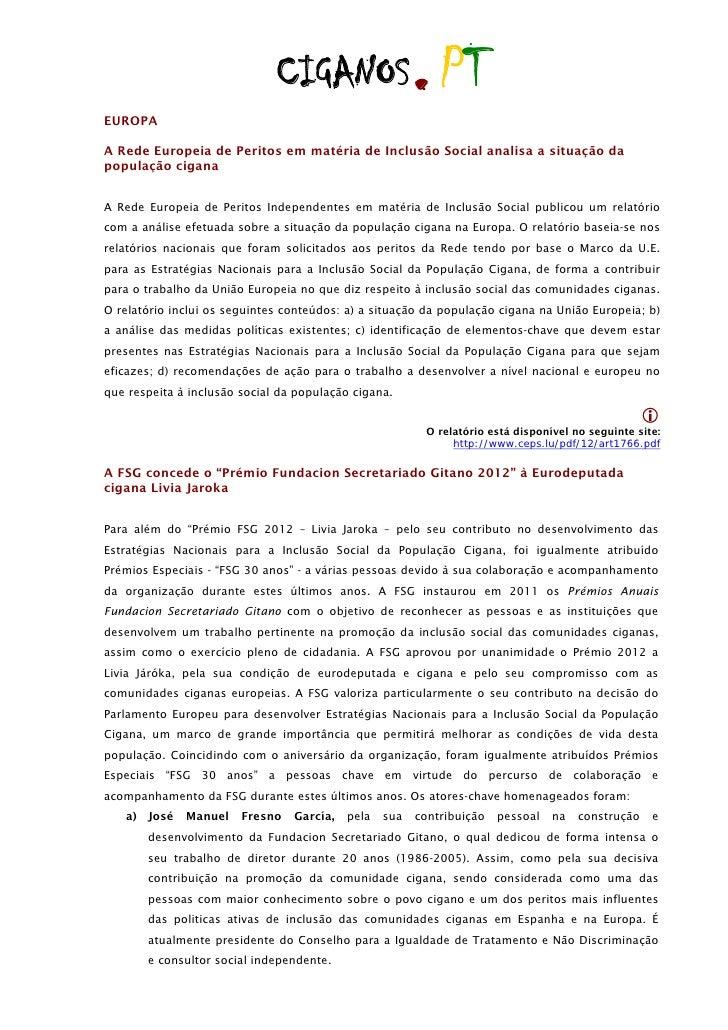 EUROPA                              CIGANOS                   . PTA Rede Europeia de Peritos em matéria de Inclusão Social...