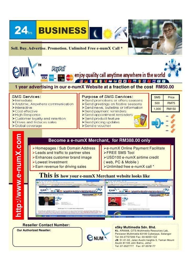 Sell. Buy. Advertise. Promotion. Unlimited Free e-numX Call *       1 year advertising in our e-numX Website at a fraction...