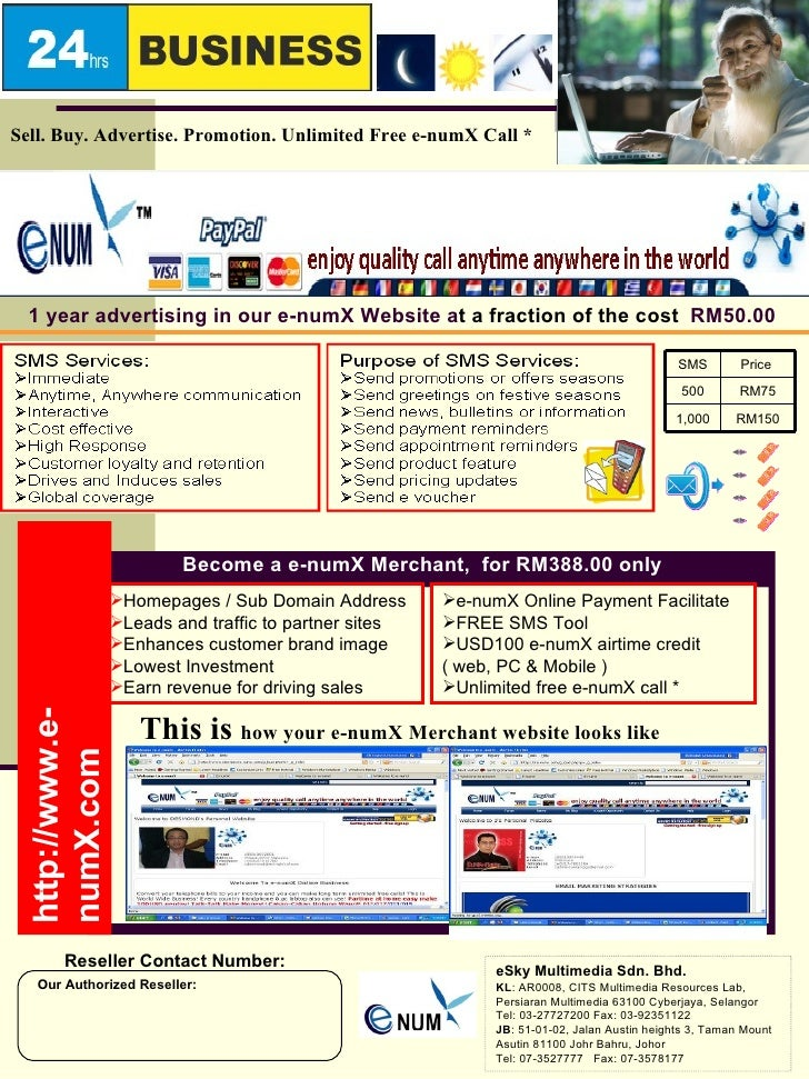 1 year advertising in our e-numX Website a t a fraction of the cost   RM50.00 Become a e-numX Merchant,  for RM388.00 only...