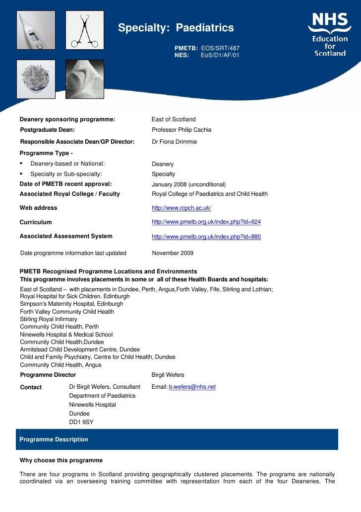 Specialty: Paediatrics                                                               PMETB: EOS/SRT/487                   ...