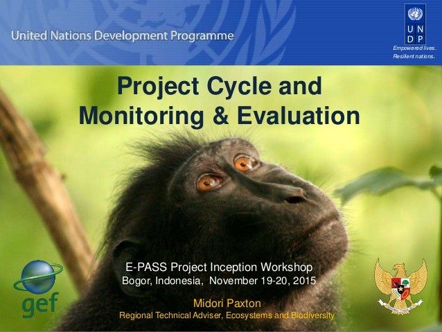 Empowered lives. Resilient nations. Project Cycle and Monitoring & Evaluation Midori Paxton Regional Technical Adviser, Ec...