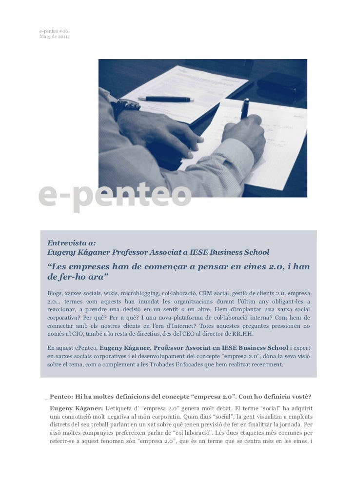 """e-penteo #06Març de 2011.   Entrevista a:   Eugeny Káganer Professor Associat a IESE Business School   """"Les empreses han d..."""