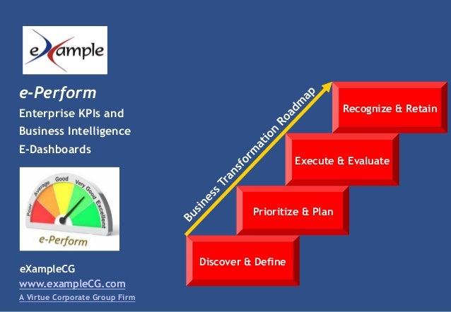 eXampleCG e-Perform Enterprise KPIs and Business Intelligence E-Dashboards www.exampleCG.com A Virtue Corporate Group Firm...
