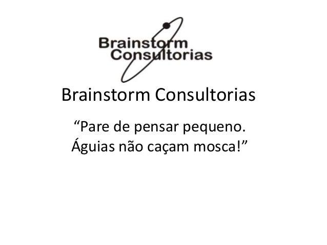 """Brainstorm Consultorias """"Pare de pensar pequeno. Águias não caçam mosca!"""""""