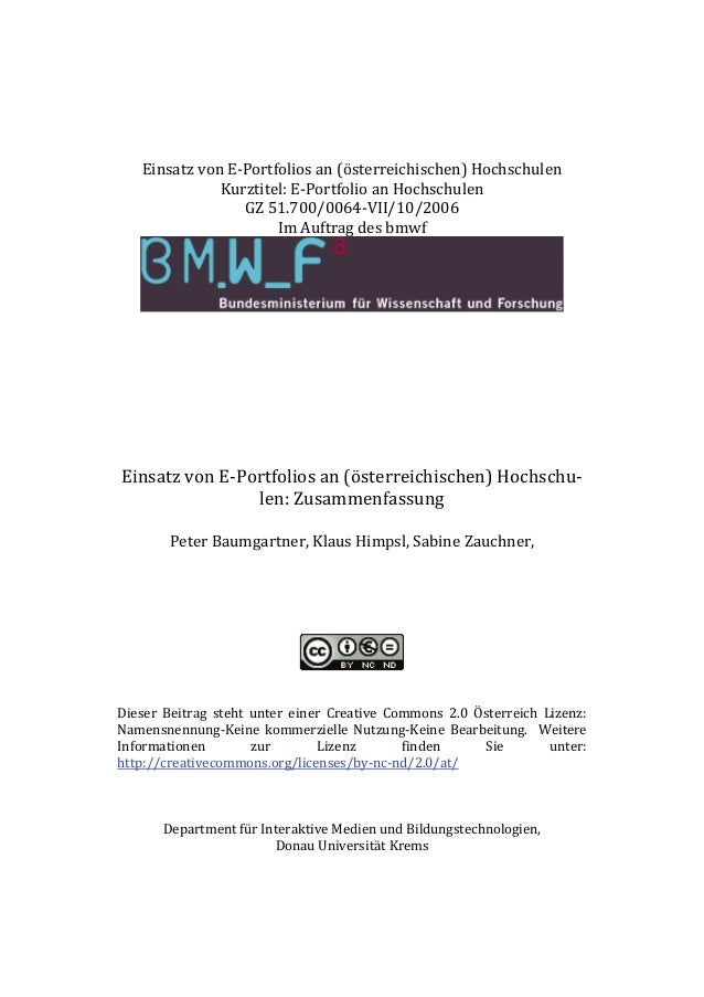 Einsatz von E-Portfolios an (österreichischen) Hochschulen Kurztitel: E-Portfolio an Hochschulen GZ 51.700/0064-VII/10/200...