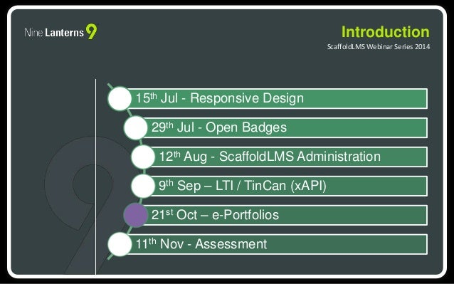 15th Jul - Responsive Design  29th Jul - Open Badges  12th Aug - ScaffoldLMS Administration  9th Sep – LTI / TinCan (xAPI)...