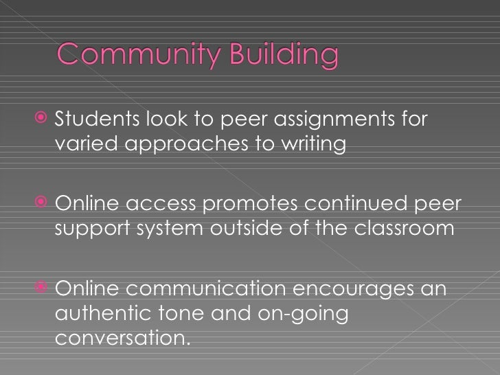 <ul><li>Students look to peer assignments for varied approaches to writing </li></ul><ul><li>Online access promotes contin...