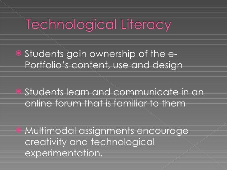 <ul><li>Students gain ownership of the e-Portfolio's content, use and design </li></ul><ul><li>Students learn and communic...