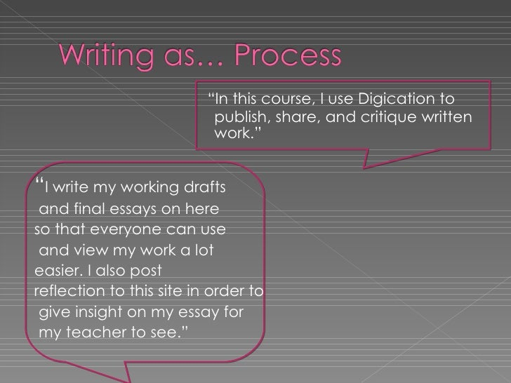 "<ul><li>  "" In this course, I use Digication to    publish, share, and critique written    work."" </li></ul><ul><li>"" I wr..."