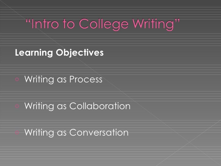 <ul><li>Learning Objectives </li></ul><ul><li>Writing as Process </li></ul><ul><li>Writing as Collaboration </li></ul><ul>...